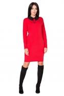 Raudona suknelė su nuimama apykakle