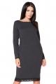 Tamsiai pilkos spalvos suknelė su nėriniais