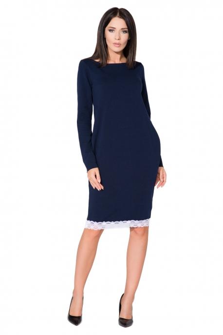 Tamsiai mėlynos spalvos suknelė su nėriniais