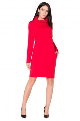 Raudona suknelė ilgu kaklu