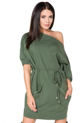 Žalia suknelė su kišenėmis