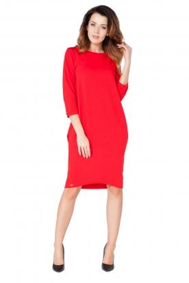 Raudona laisvo kirpimo suknelė