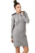 Šviesiai pilka suknelė su gobtuvu