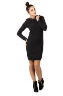 Tamsiai pilka suknelė su gobtuvu