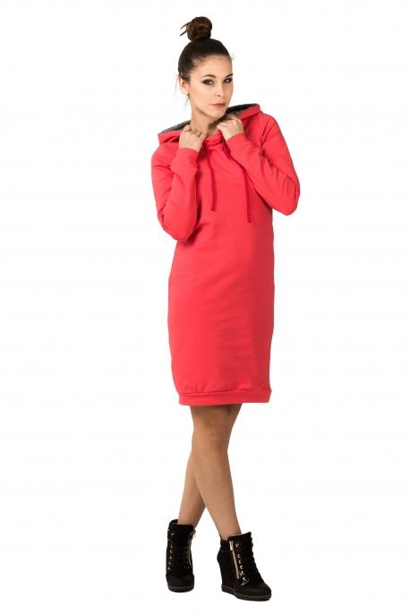 Koralinė suknelė su gobtuvu
