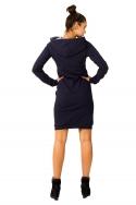 Tamsiai mėlyna suknelė su gobtuvu