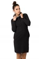 Tamsiai pilkos spalvos suknelė ilgu kaklu