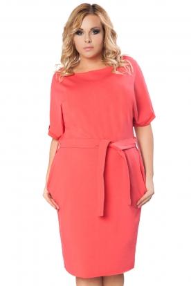 Koralinės spalvos suknelė su kišenėmis