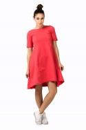 Koralinės spalvos suknelė