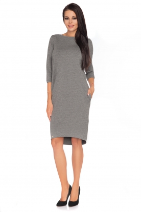 Pilka suknelė su kaspinėliu nugaroje