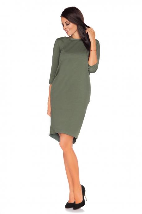 Žalia suknelė su kaspinėliu nugaroje