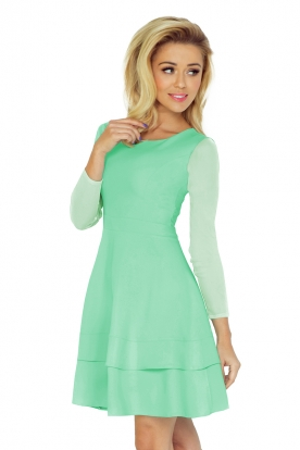 Dress with sleeves of tulle - mint 141-3