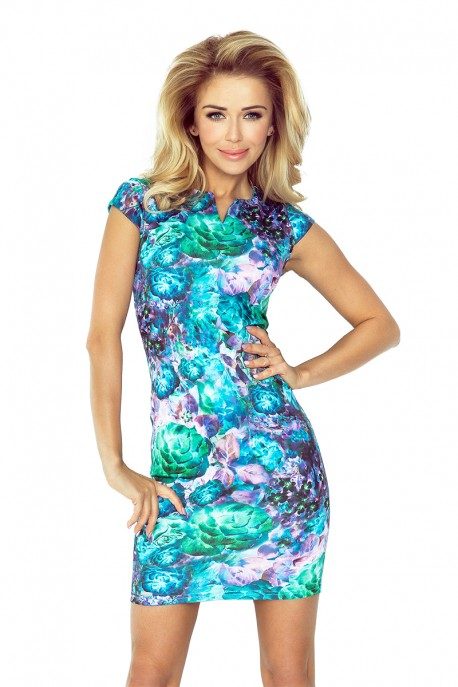 132-7 dress with cut-out - Green flowers