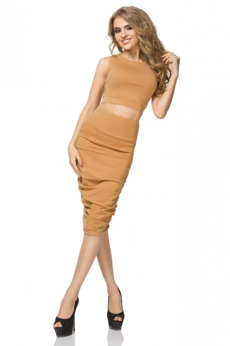 Rudos spalvos sijonas