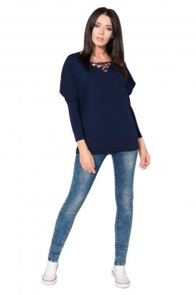 Mėlynas sportinio stiliaus megztinis