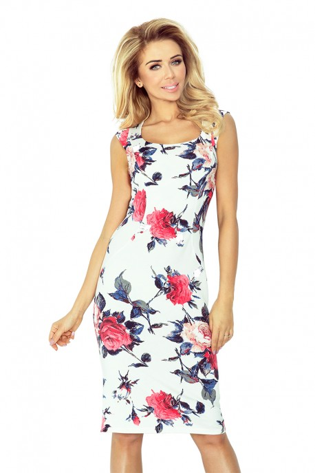 Fitted dress - Colorful large flowers 53-30