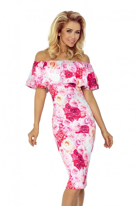 Dress with frill - Pink roses 138-6