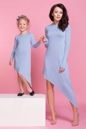 Melsva asimetrinio kirpimo suknelė moteriai