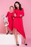 Raudona asimetrinio kirpimo suknelė mergaitei