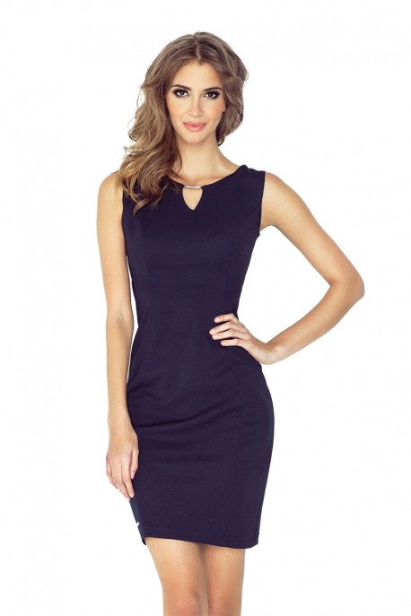 Elegant dress with buckle - navy blue MM 005-2