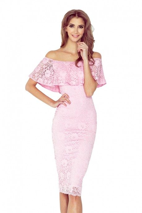 MM 013-2 Dress with frill - lace - light pink