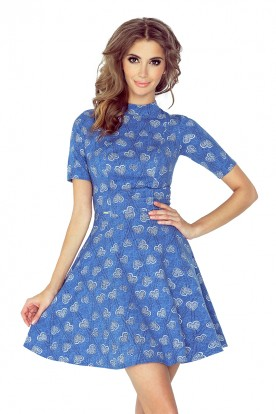 MM 011-1 Short Sleeve Dress - jeans with hearts