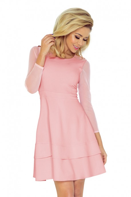 Dress with sleeves of tulle - light pink 141-7
