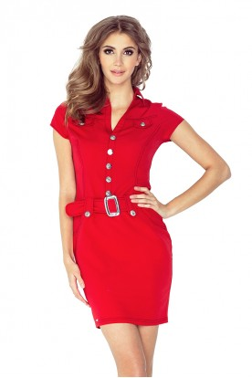 Dress with buttons - red 142-4