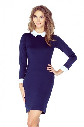 Dress with a white collar - NAVY BLUE 143-2
