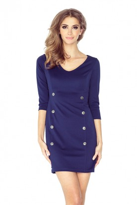 Dress with buttons - navy blue MM 019-1