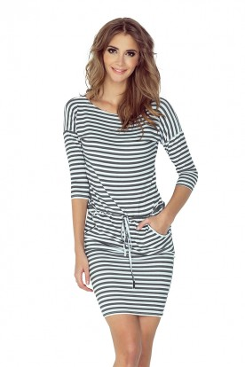 Sporty dress - gray stripes 0,7 cm x 0,7 cm 13-71