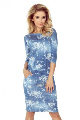 Sporty dress - viscose - Blue jeans - flowers 13-56