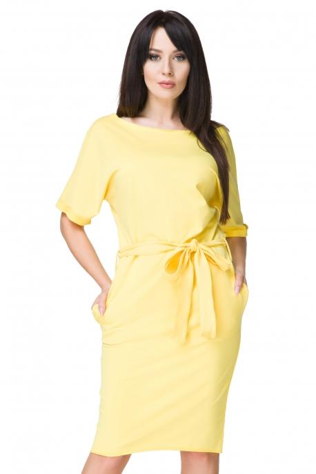 Geltona suknelė su kišenėmis
