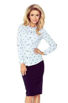 White blouse with dandelion - buttons MM 017-5