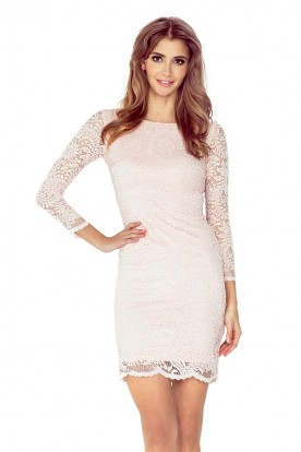 Dress with lace - peach 145-4
