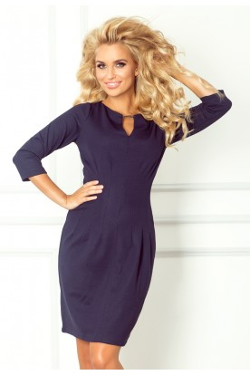 Dress with buckle - thick lacoste - navy blue 68-1