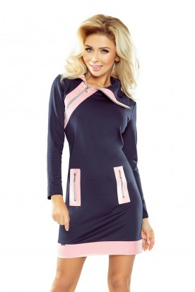 129-5 JUSTYNA dress with three zippers - navy blue + pink zippers