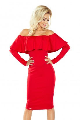 Dress with frill - Long Sleeve - red 156-2