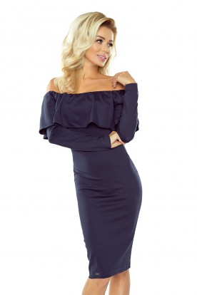 Dress with frill - Long Sleeve - Navy Blue 156-1