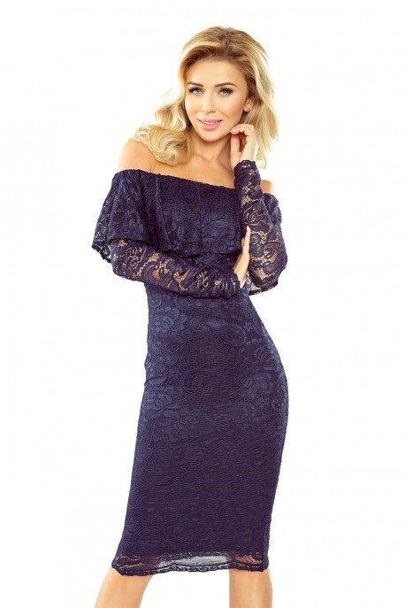 MM 021-2 Dress with frill - lace - navy blue