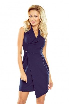 Dress with neckline - navy blue 153-3