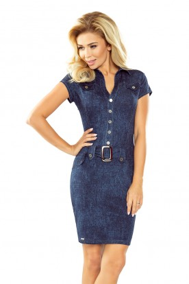 Dress with buttons - navy blue JEANS 142-5