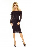 MM 021-1 Dress with frill - lace - black
