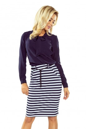 Skirt with pockets and drawstring - striped white-navy blue 127-5