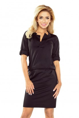 161-1 AGATA - dress with a collar - BLACK