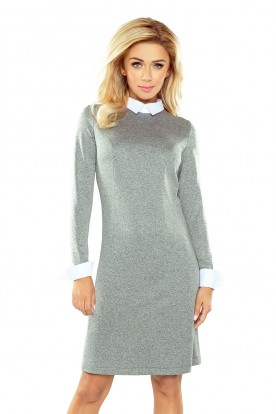 Dress with collar - gray 167-1