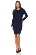 Tamsiai mėlyna suknelė ilgesniu kaklu