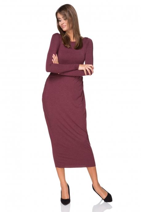 Ilga bordo spalvos suknelė
