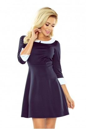 Dress with collar - navy blue 162-2