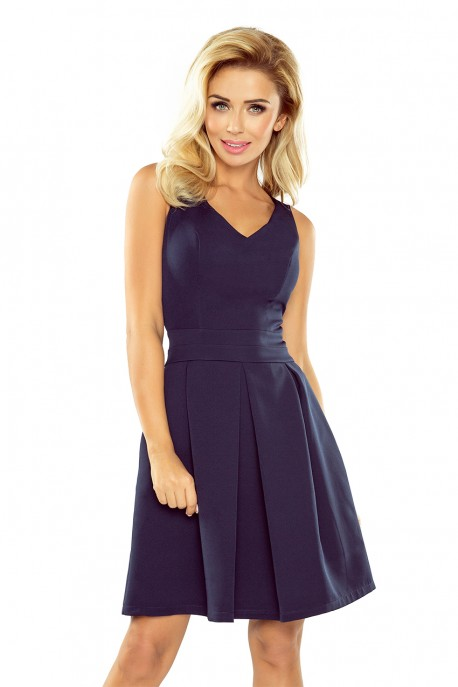 Dress with neckline and pockets - navy blue 160-2